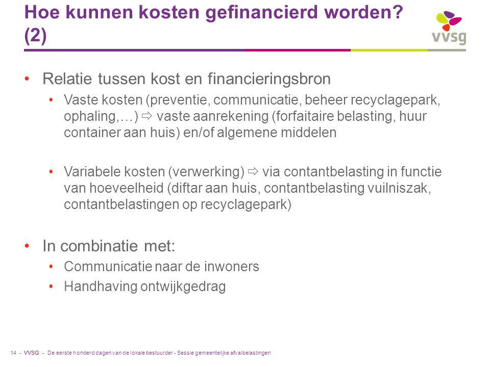 VVSG - Hoe kunnen kosten gefinancierd worden? (2) Relatie tussen kost en financieringsbron Vaste kosten (preventie, communicatie, beheer recyclagepark