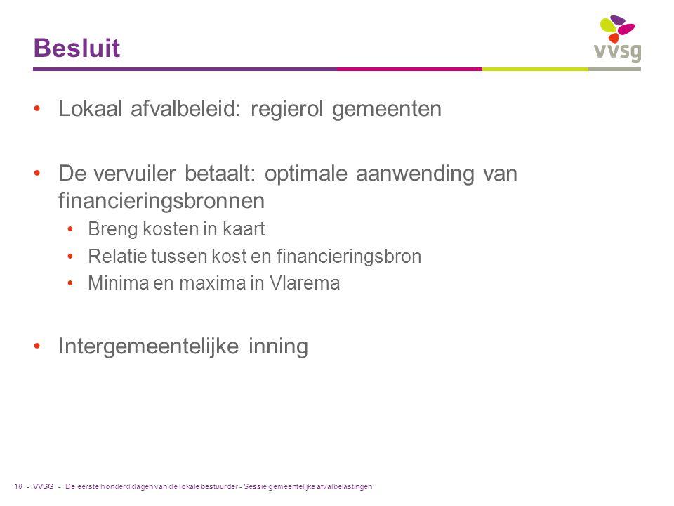 VVSG - Besluit Lokaal afvalbeleid: regierol gemeenten De vervuiler betaalt: optimale aanwending van financieringsbronnen Breng kosten in kaart Relatie