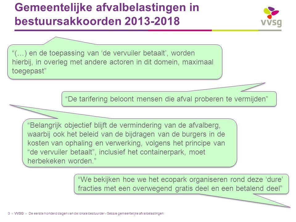 VVSG - Gemeentelijke afvalbelastingen in bestuursakkoorden 2013-2018 De eerste honderd dagen van de lokale bestuurder - Sessie gemeentelijke afvalbela
