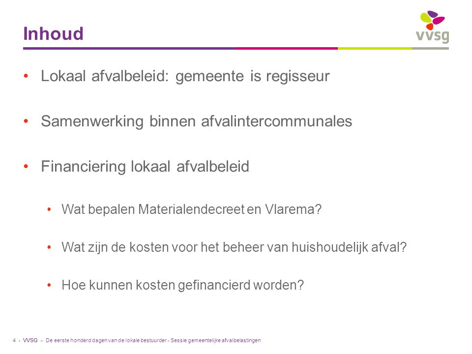 VVSG - Hoe kunnen kosten gefinancierd worden.