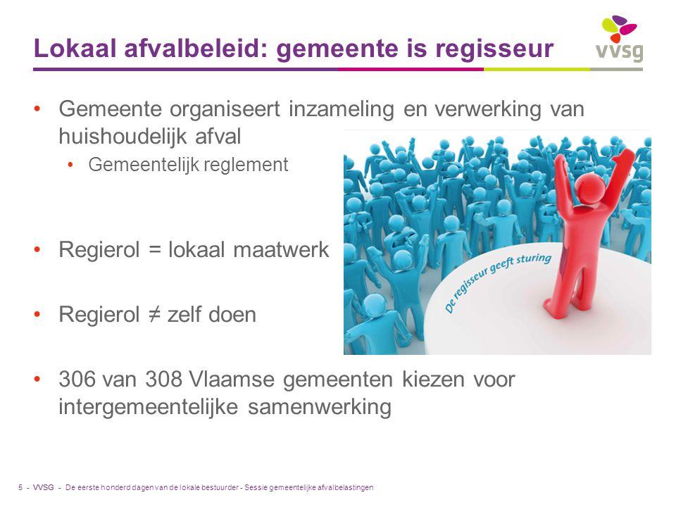 VVSG - Lokaal afvalbeleid: gemeente is regisseur Gemeente organiseert inzameling en verwerking van huishoudelijk afval Gemeentelijk reglement Regierol