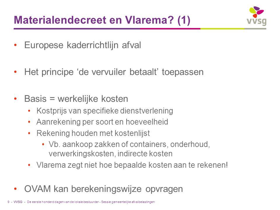 VVSG - Materialendecreet en Vlarema? (1) Europese kaderrichtlijn afval Het principe 'de vervuiler betaalt' toepassen Basis = werkelijke kosten Kostpri