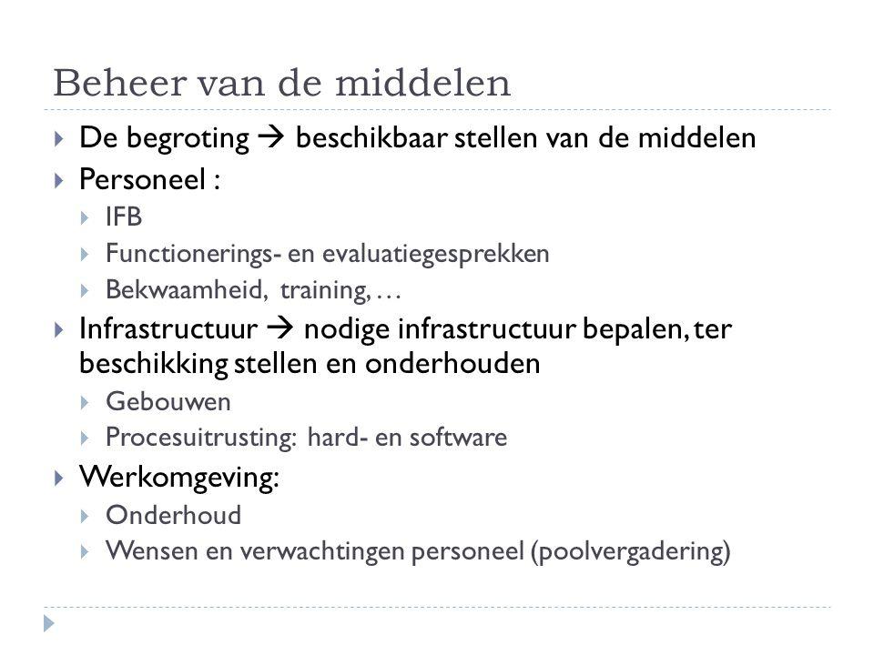 Beheer van de middelen  De begroting  beschikbaar stellen van de middelen  Personeel :  IFB  Functionerings- en evaluatiegesprekken  Bekwaamheid