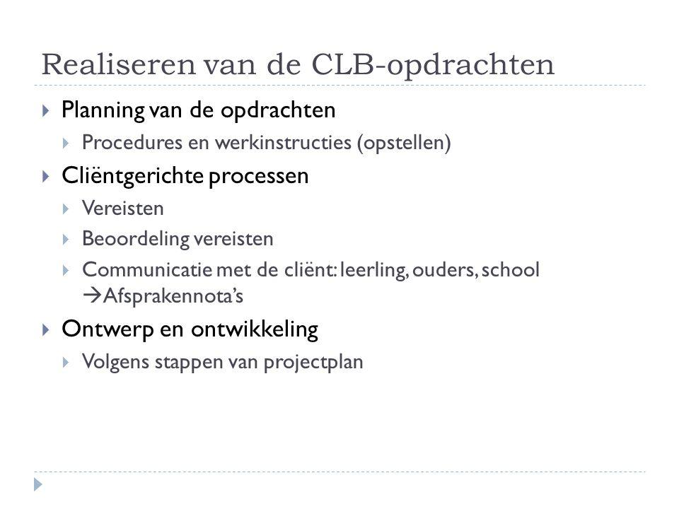 Realiseren van de CLB-opdrachten  Planning van de opdrachten  Procedures en werkinstructies (opstellen)  Cliëntgerichte processen  Vereisten  Beo