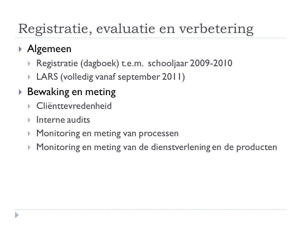 Registratie, evaluatie en verbetering  Algemeen  Registratie (dagboek) t.e.m. schooljaar 2009-2010  LARS (volledig vanaf september 2011)  Bewaking
