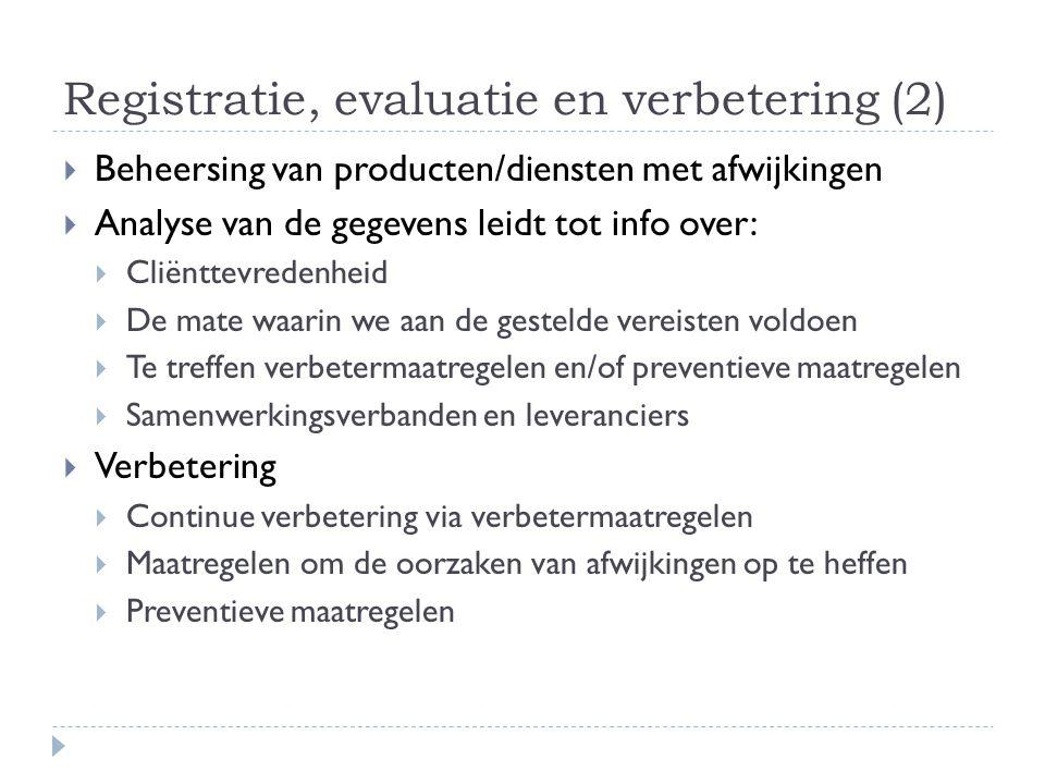 Registratie, evaluatie en verbetering (2)  Beheersing van producten/diensten met afwijkingen  Analyse van de gegevens leidt tot info over:  Cliëntt