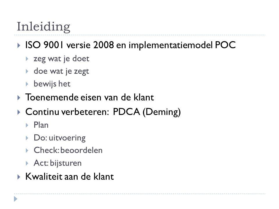 Inleiding  ISO 9001 versie 2008 en implementatiemodel POC  zeg wat je doet  doe wat je zegt  bewijs het  Toenemende eisen van de klant  Continu