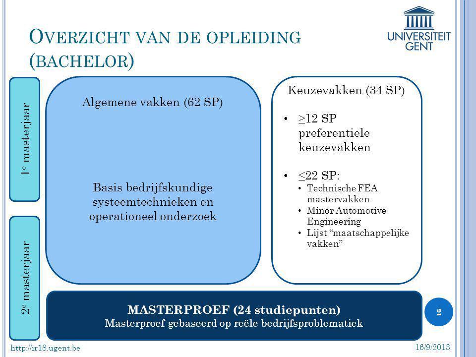 O VERZICHT VAN DE OPLEIDING ( BACHELOR ) 16/9/2013 2 Algemene vakken (62 SP) Basis bedrijfskundige systeemtechnieken en operationeel onderzoek Keuzeva