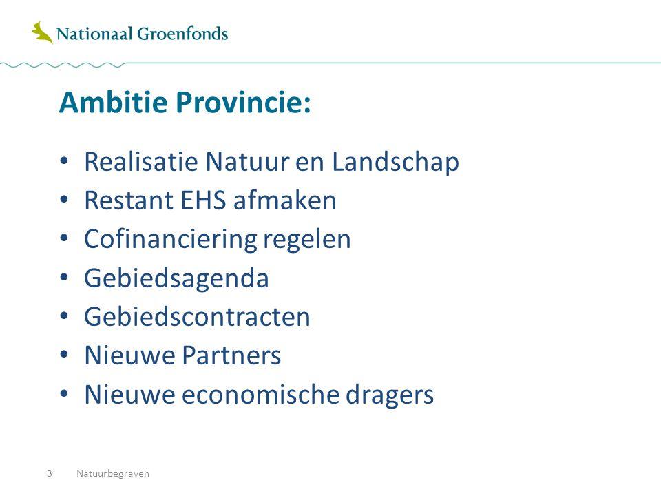 Ambitie Provincie: Realisatie Natuur en Landschap Restant EHS afmaken Cofinanciering regelen Gebiedsagenda Gebiedscontracten Nieuwe Partners Nieuwe ec