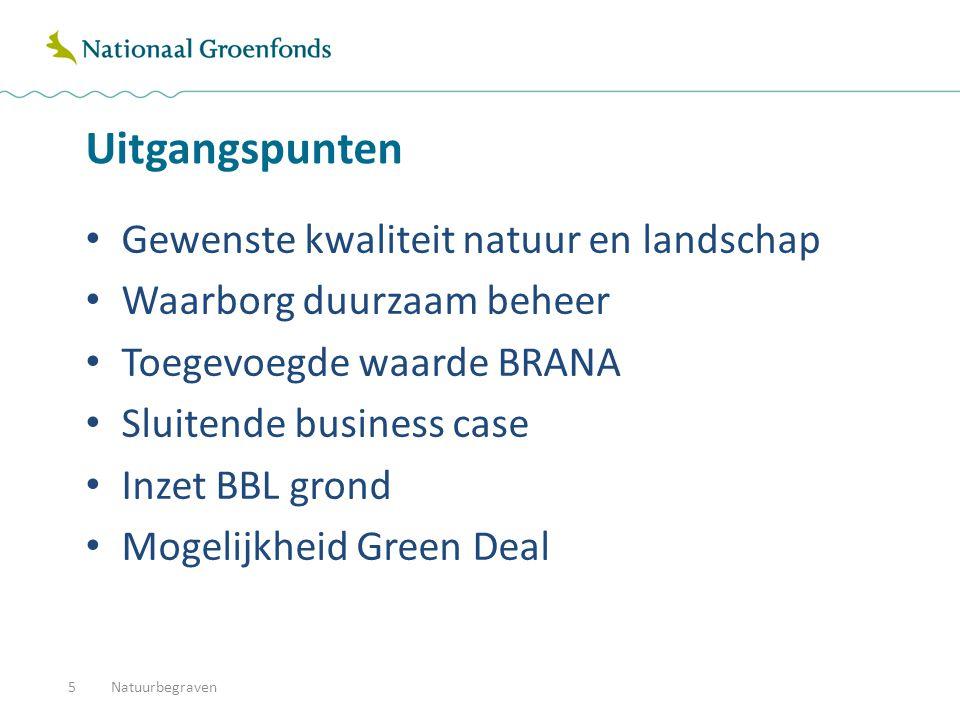 Uitgangspunten Gewenste kwaliteit natuur en landschap Waarborg duurzaam beheer Toegevoegde waarde BRANA Sluitende business case Inzet BBL grond Mogelijkheid Green Deal Natuurbegraven5