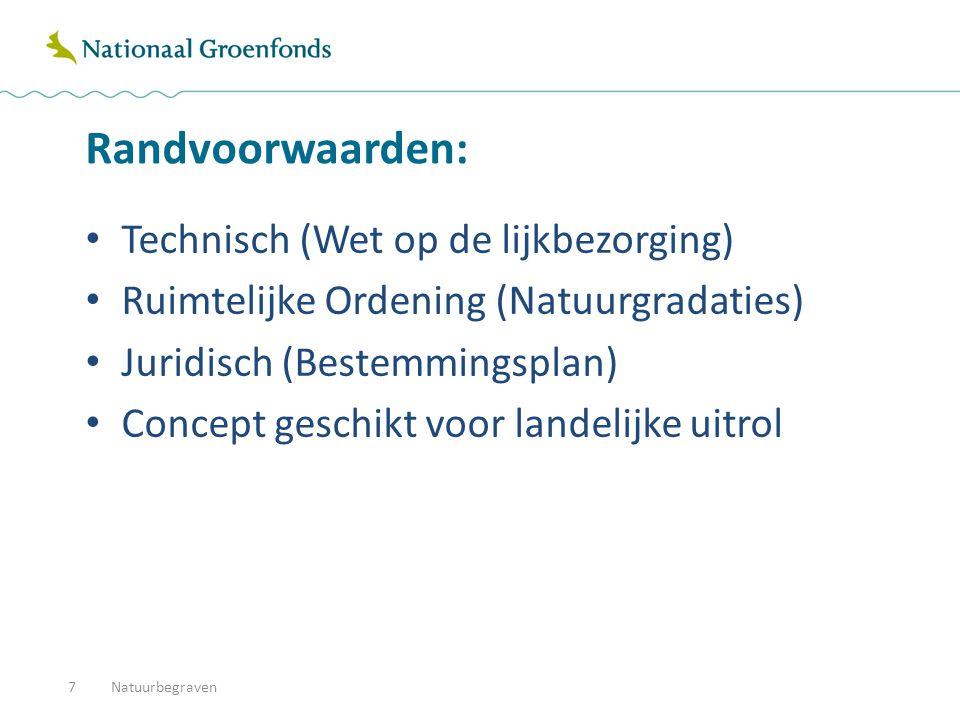 Randvoorwaarden: Technisch (Wet op de lijkbezorging) Ruimtelijke Ordening (Natuurgradaties) Juridisch (Bestemmingsplan) Concept geschikt voor landelijke uitrol Natuurbegraven7