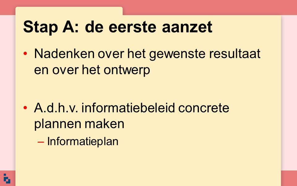 Stap A: de eerste aanzet Nadenken over het gewenste resultaat en over het ontwerp A.d.h.v. informatiebeleid concrete plannen maken –Informatieplan