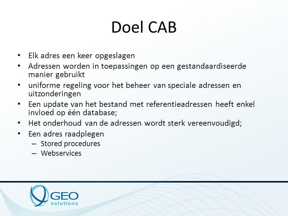 Doel CAB Elk adres een keer opgeslagen Adressen worden in toepassingen op een gestandaardiseerde manier gebruikt uniforme regeling voor het beheer van