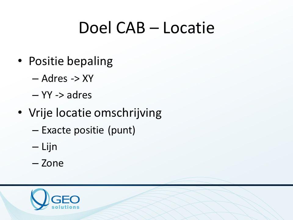 Doel CAB – Locatie Positie bepaling – Adres -> XY – YY -> adres Vrije locatie omschrijving – Exacte positie (punt) – Lijn – Zone