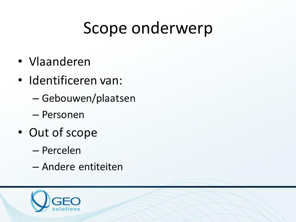 Scope onderwerp Vlaanderen Identificeren van: – Gebouwen/plaatsen – Personen Out of scope – Percelen – Andere entiteiten