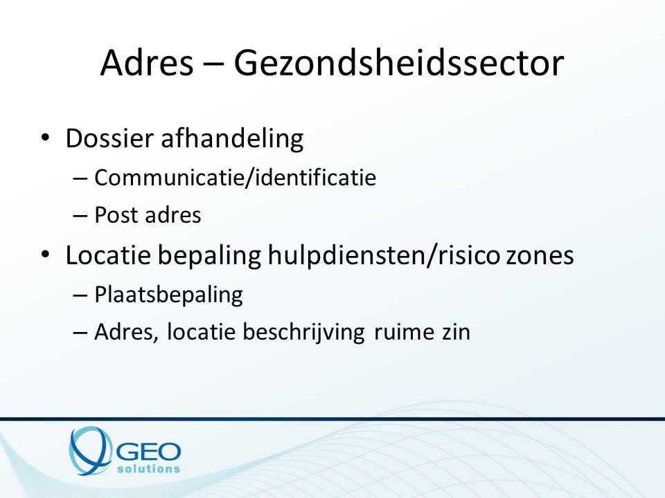 Adres – Gezondsheidssector Dossier afhandeling – Communicatie/identificatie – Post adres Locatie bepaling hulpdiensten/risico zones – Plaatsbepaling –