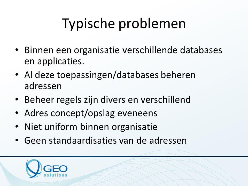 Typische problemen Binnen een organisatie verschillende databases en applicaties. Al deze toepassingen/databases beheren adressen Beheer regels zijn d