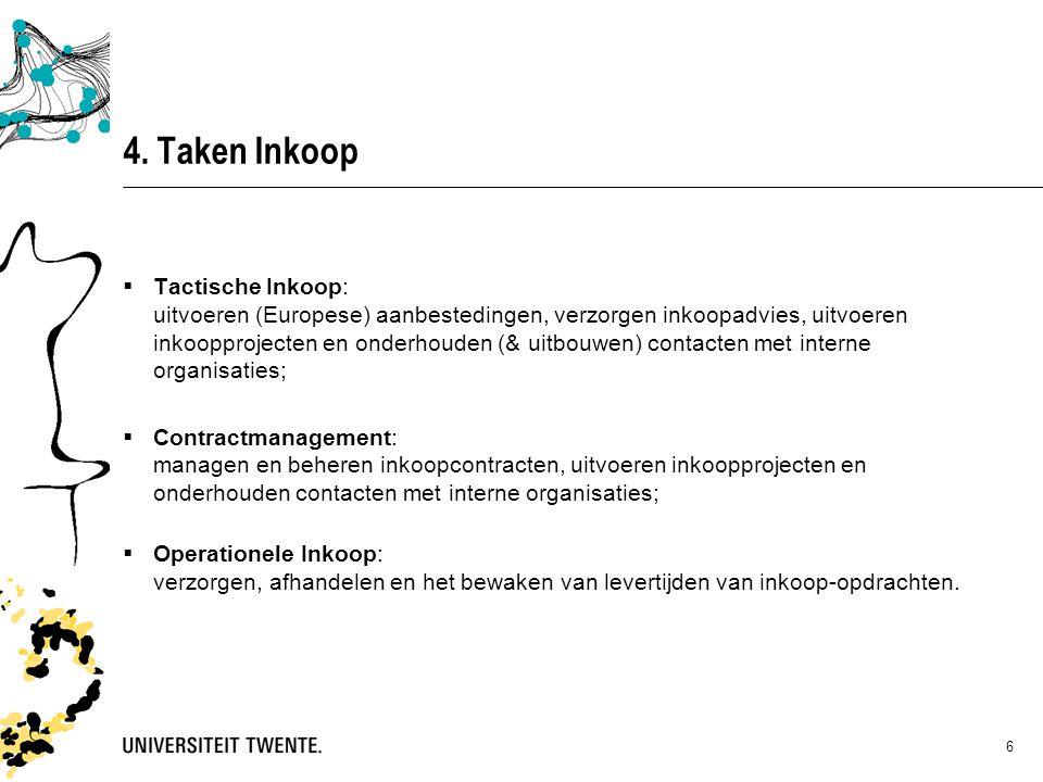 4. Taken Inkoop  Tactische Inkoop: uitvoeren (Europese) aanbestedingen, verzorgen inkoopadvies, uitvoeren inkoopprojecten en onderhouden (& uitbouwen