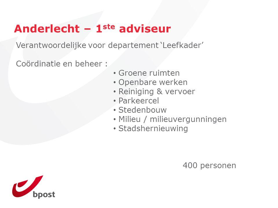 Anderlecht – 1 ste adviseur Verantwoordelijke voor departement 'Leefkader' Coördinatie en beheer : Groene ruimten Openbare werken Reiniging & vervoer