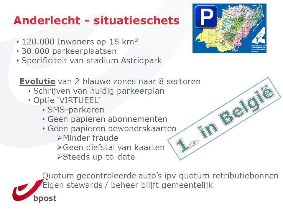 Evolutie van 2 blauwe zones naar 8 sectoren Schrijven van huidig parkeerplan Optie 'VIRTUEEL' SMS-parkeren Geen papieren abonnementen Geen papieren be