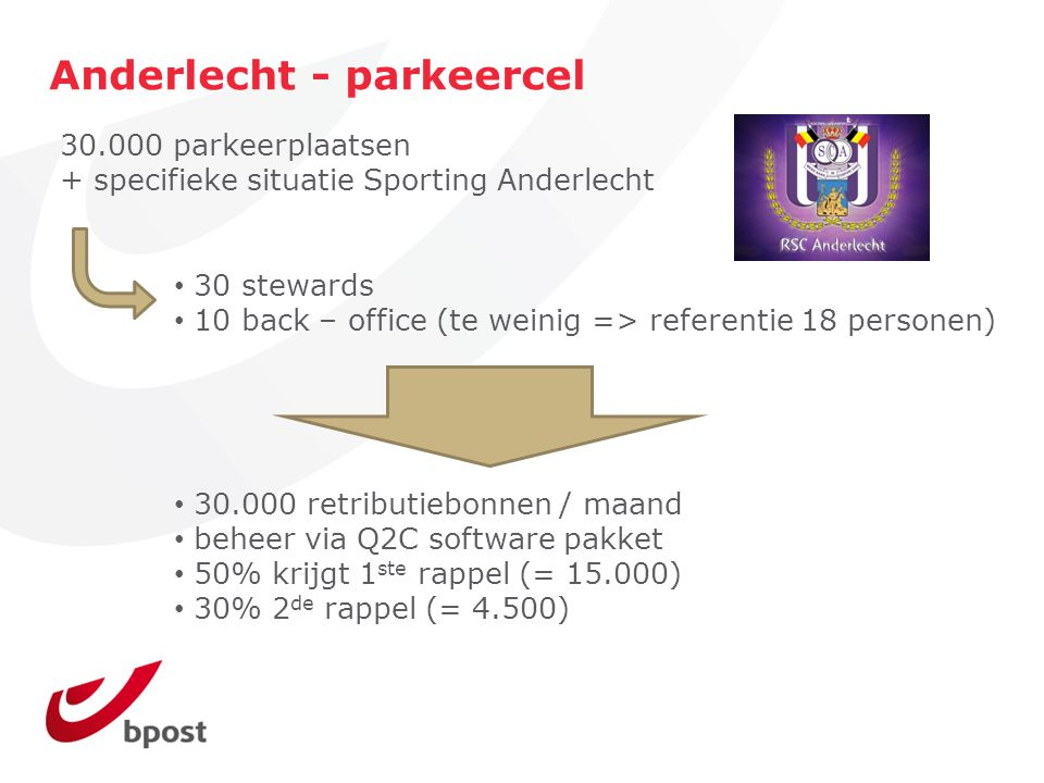 Anderlecht - parkeercel 30 stewards 10 back – office (te weinig => referentie 18 personen) 30.000 parkeerplaatsen + specifieke situatie Sporting Ander