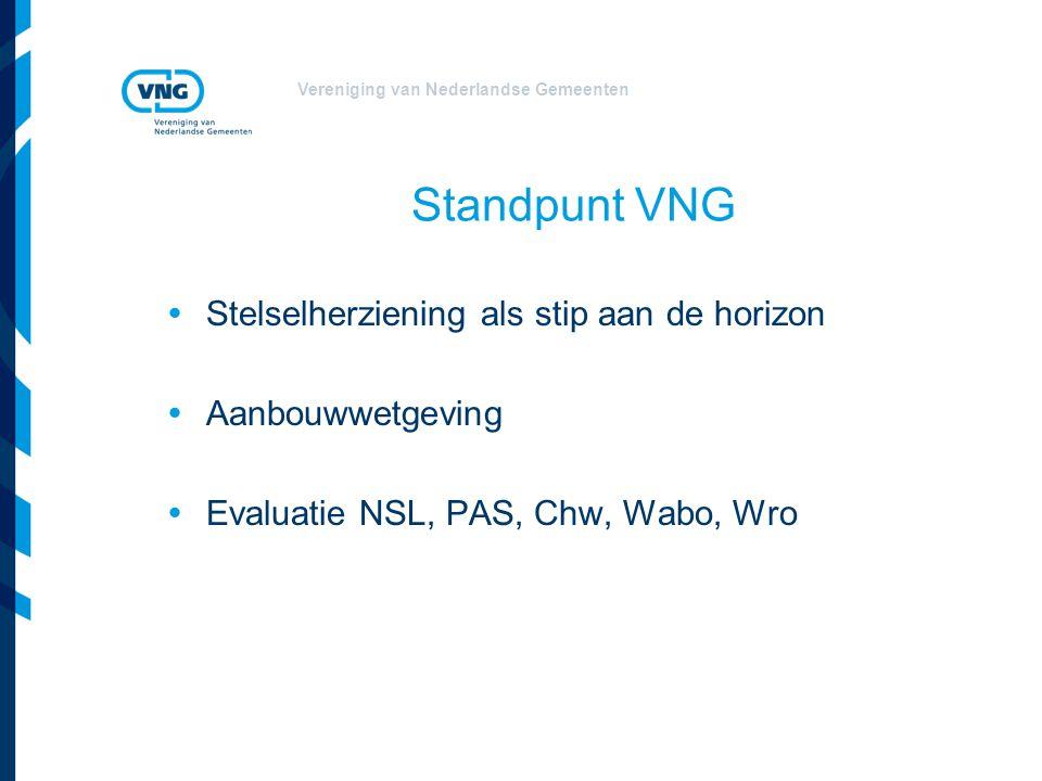 Vereniging van Nederlandse Gemeenten Standpunt VNG  Stelselherziening als stip aan de horizon  Aanbouwwetgeving  Evaluatie NSL, PAS, Chw, Wabo, Wro