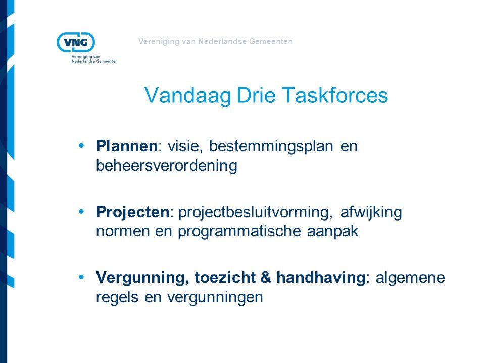 Vereniging van Nederlandse Gemeenten Vandaag Drie Taskforces  Plannen: visie, bestemmingsplan en beheersverordening  Projecten: projectbesluitvormin