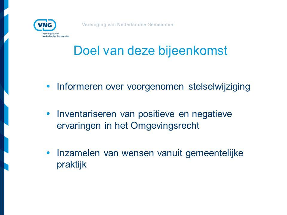 Vereniging van Nederlandse Gemeenten Doel van deze bijeenkomst  Informeren over voorgenomen stelselwijziging  Inventariseren van positieve en negati
