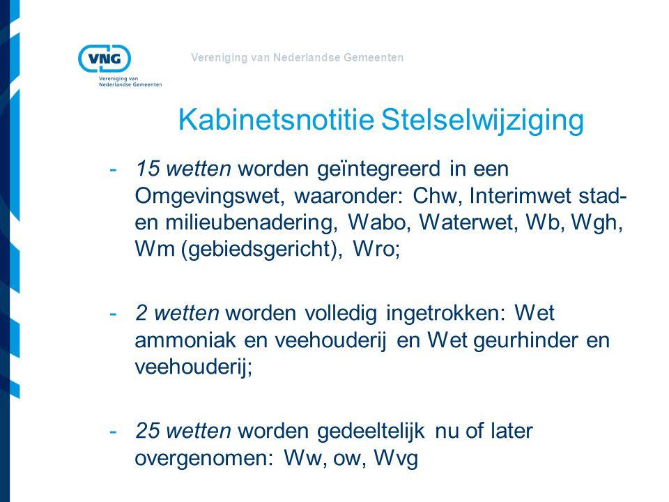 Vereniging van Nederlandse Gemeenten Kabinetsnotitie Stelselwijziging -15 wetten worden geïntegreerd in een Omgevingswet, waaronder: Chw, Interimwet s