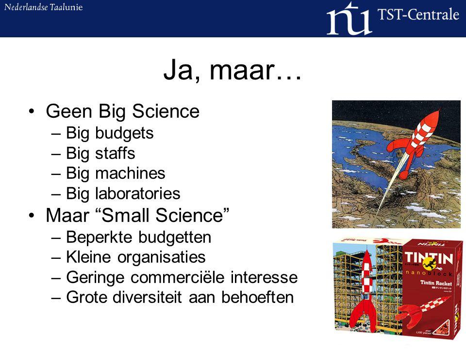 De Taalunie schept kansen Samenwerking Nederland, Vlaanderen en Suriname STEVIN: onderzoek naar en basistaalmaterialen voor taal- en spraaktechnologie (TST) TST-Centrale –Advisering –Beheer en onderhoud –Beschikbaarstelling en ondersteuning