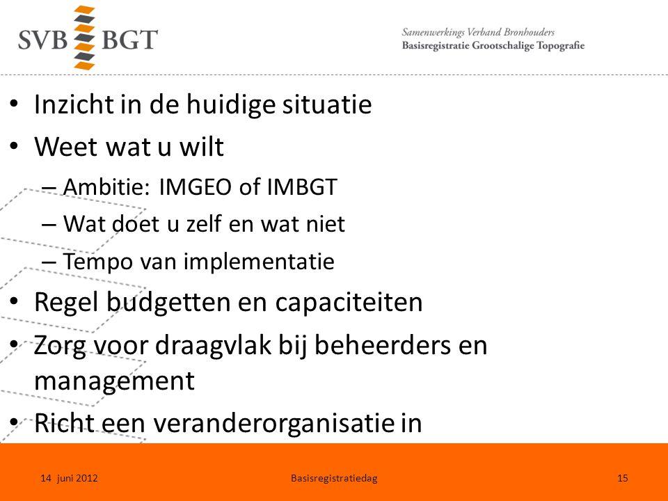 Inzicht in de huidige situatie Weet wat u wilt – Ambitie: IMGEO of IMBGT – Wat doet u zelf en wat niet – Tempo van implementatie Regel budgetten en ca