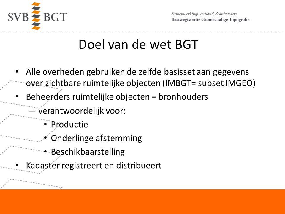 Doel van de wet BGT Alle overheden gebruiken de zelfde basisset aan gegevens over zichtbare ruimtelijke objecten (IMBGT= subset IMGEO) Beheerders ruim