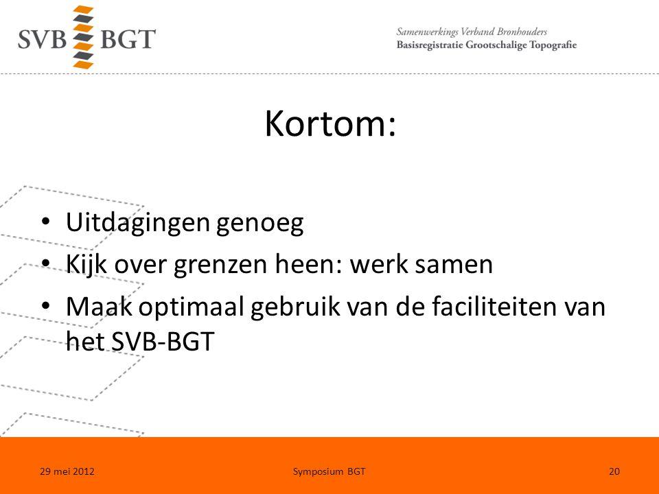Kortom: Uitdagingen genoeg Kijk over grenzen heen: werk samen Maak optimaal gebruik van de faciliteiten van het SVB-BGT 29 mei 2012Symposium BGT20