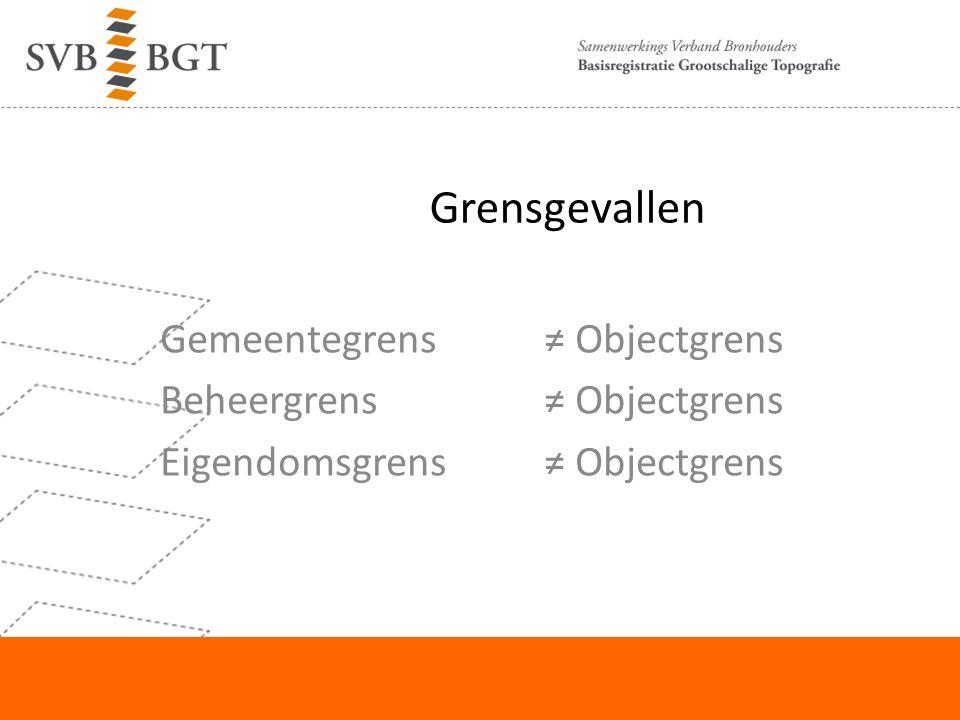 Grensgevallen Gemeentegrens≠ Objectgrens Beheergrens ≠ Objectgrens Eigendomsgrens ≠ Objectgrens
