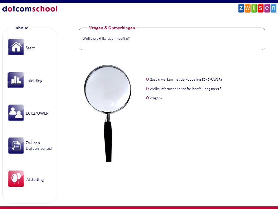 Inhoud Start Inleiding ECK2/UWLR Zwijsen Dotcomschool Afsluiting Welke praktijkvragen heeft u? Vragen & Opmerkingen O Gaat u werken met de koppeling E