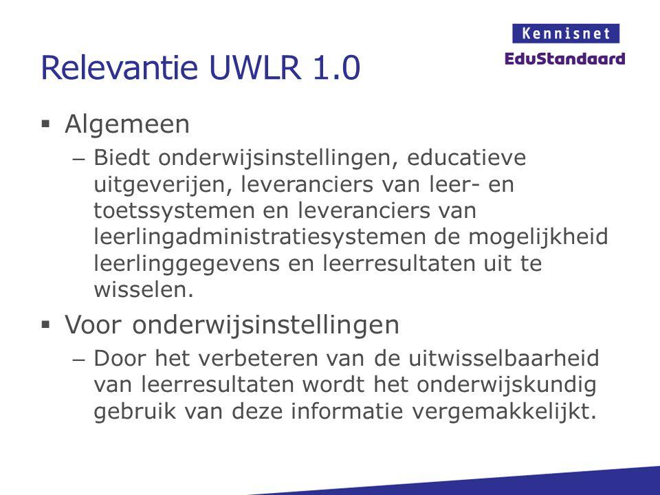Relevantie UWLR 1.0  Algemeen – Biedt onderwijsinstellingen, educatieve uitgeverijen, leveranciers van leer- en toetssystemen en leveranciers van lee