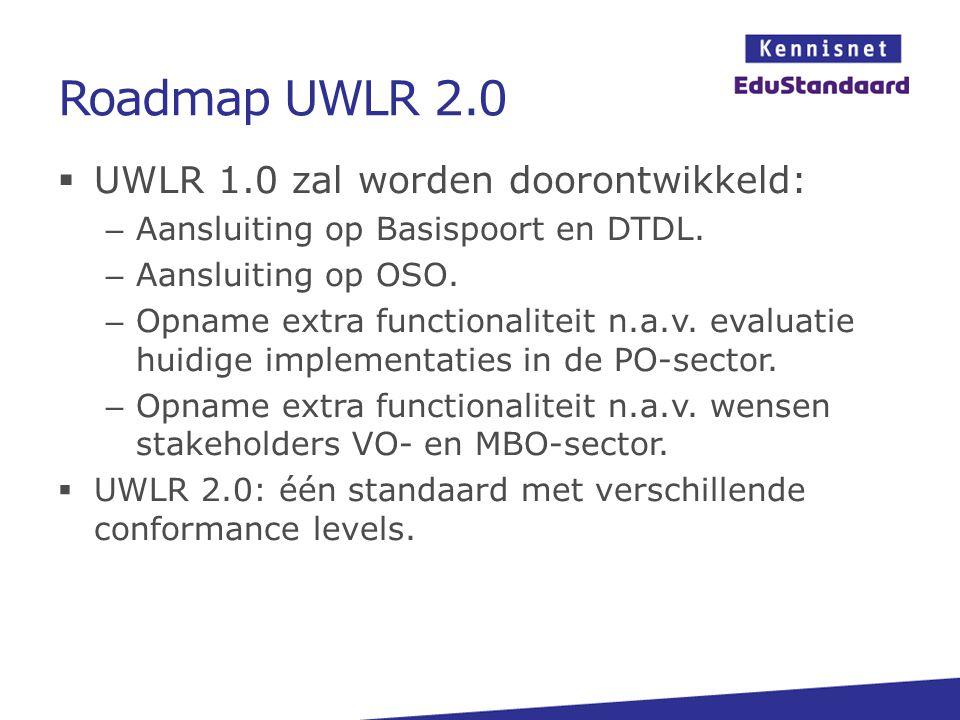 Roadmap UWLR 2.0  UWLR 1.0 zal worden doorontwikkeld: – Aansluiting op Basispoort en DTDL. – Aansluiting op OSO. – Opname extra functionaliteit n.a.v
