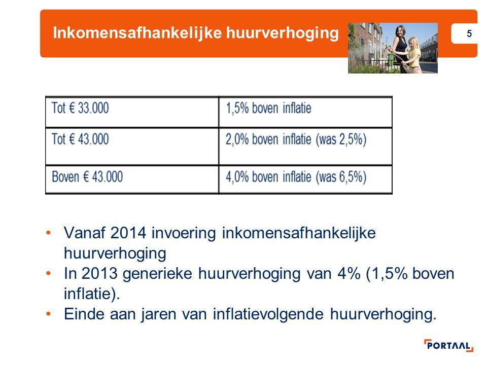 Inkomensafhankelijke huurverhoging 5 Vanaf 2014 invoering inkomensafhankelijke huurverhoging In 2013 generieke huurverhoging van 4% (1,5% boven inflatie).