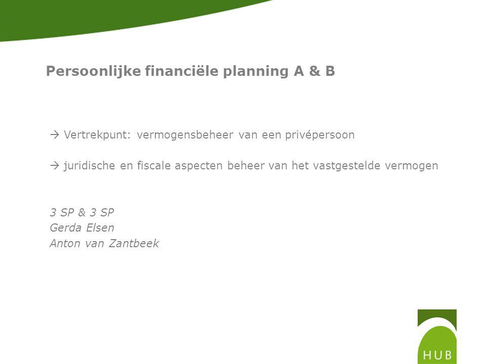 Persoonlijke financiële planning A & B  Vertrekpunt: vermogensbeheer van een privépersoon  juridische en fiscale aspecten beheer van het vastgestelde vermogen 3 SP & 3 SP Gerda Elsen Anton van Zantbeek