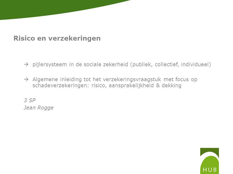 Risico en verzekeringen  pijlersysteem in de sociale zekerheid (publiek, collectief, individueel)  Algemene inleiding tot het verzekeringsvraagstuk met focus op schadeverzekeringen: risico, aansprakelijkheid & dekking 3 SP Jean Rogge