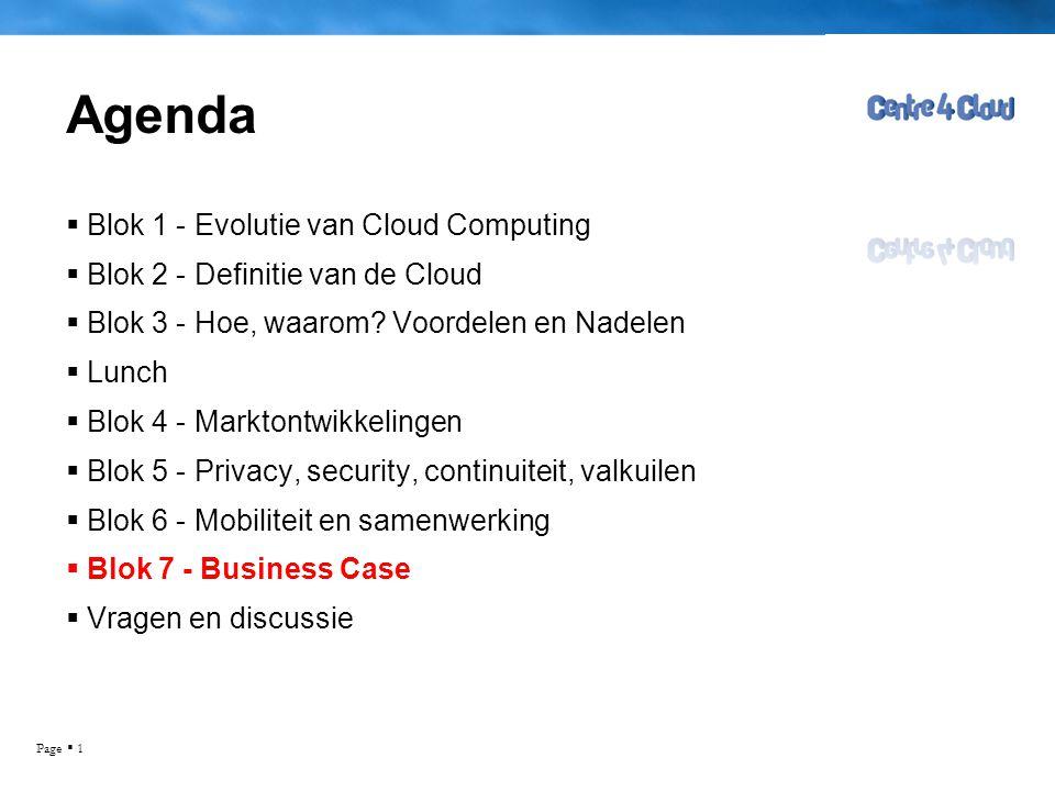 Page  1 Agenda  Blok 1 - Evolutie van Cloud Computing  Blok 2 - Definitie van de Cloud  Blok 3 - Hoe, waarom? Voordelen en Nadelen  Lunch  Blok