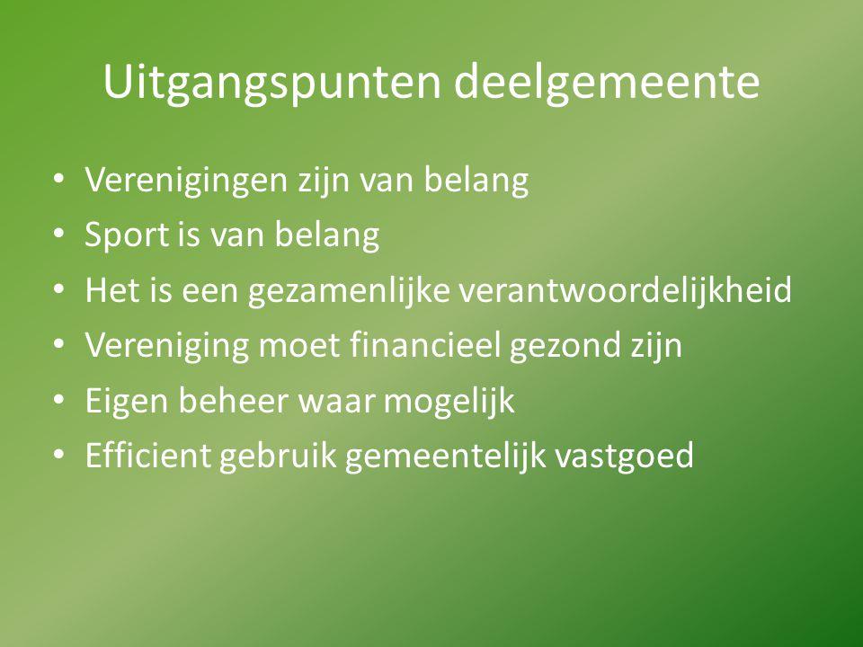 Uitgangspunten deelgemeente Verenigingen zijn van belang Sport is van belang Het is een gezamenlijke verantwoordelijkheid Vereniging moet financieel g
