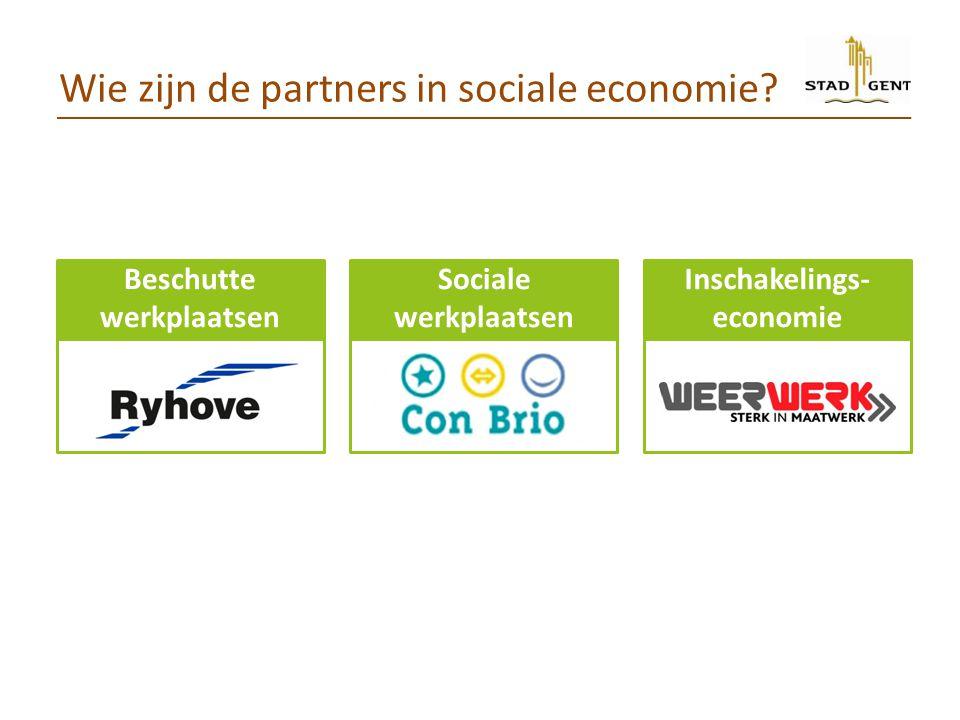 Wie zijn de partners in sociale economie? Beschutte werkplaatsen Sociale werkplaatsen Inschakelings- economie