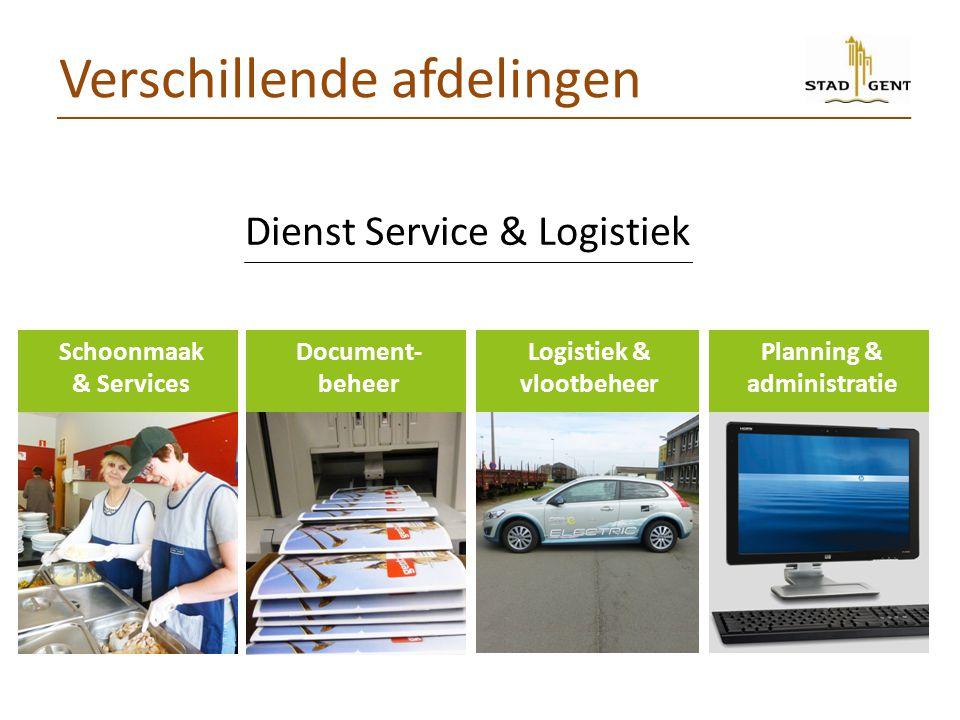 Dienst Service & Logistiek Documentbeheer Schoonmaak & Services Verschillende afdelingen Document- beheer Logistiek & vlootbeheer Planning & administr