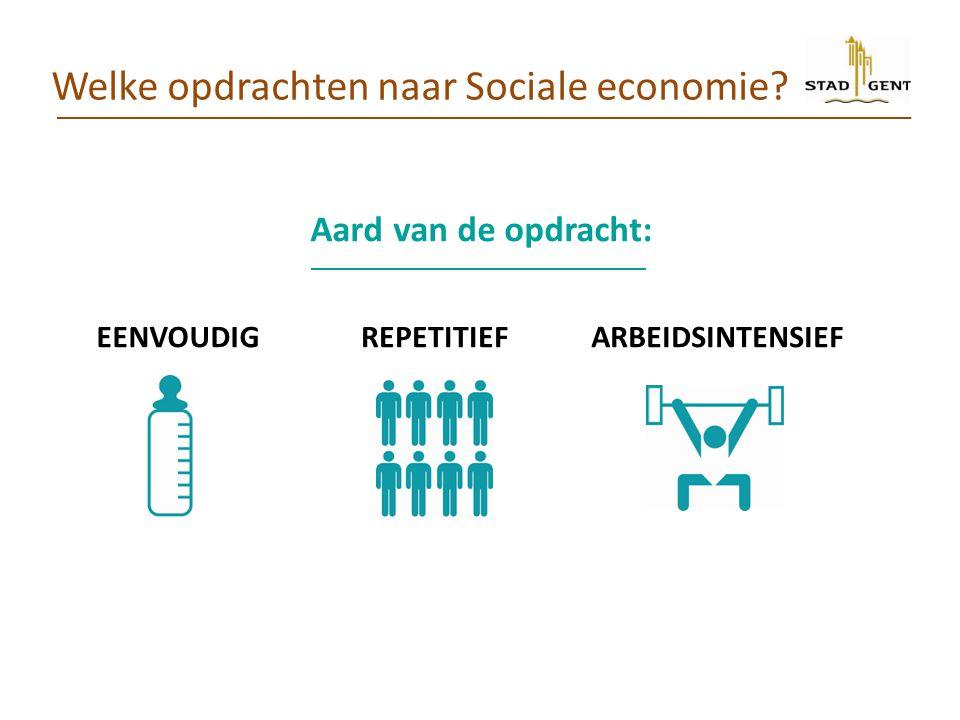 Welke opdrachten naar Sociale economie? ARBEIDSINTENSIEF Aard van de opdracht: EENVOUDIGREPETITIEF