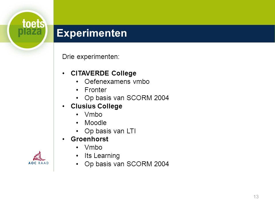 Experimenten 13 Drie experimenten: CITAVERDE College Oefenexamens vmbo Fronter Op basis van SCORM 2004 Clusius College Vmbo Moodle Op basis van LTI Groenhorst Vmbo Its Learning Op basis van SCORM 2004