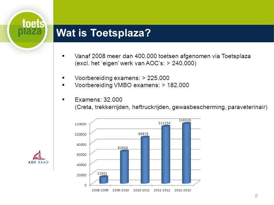 Wat is Toetsplaza. Vanaf 2008 meer dan 400.000 toetsen afgenomen via Toetsplaza (excl.
