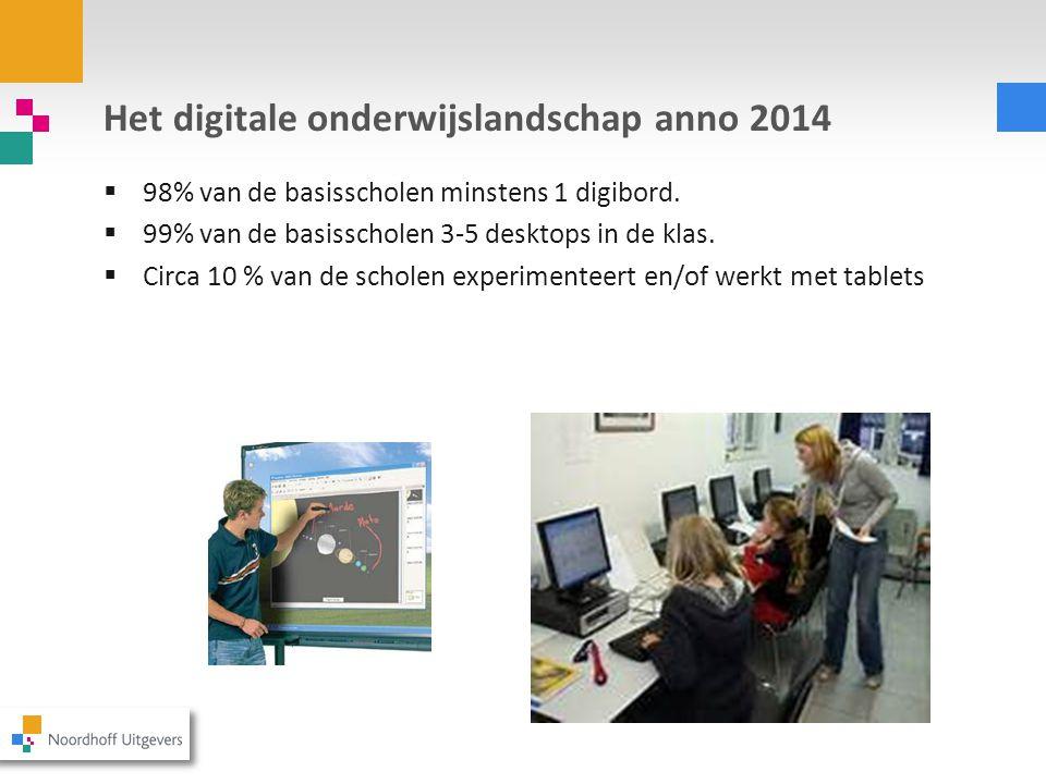 Het digitale onderwijslandschap anno 2014  98% van de basisscholen minstens 1 digibord.