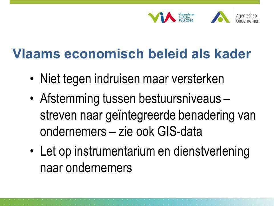 Vlaams economisch beleid als kader Niet tegen indruisen maar versterken Afstemming tussen bestuursniveaus – streven naar geïntegreerde benadering van