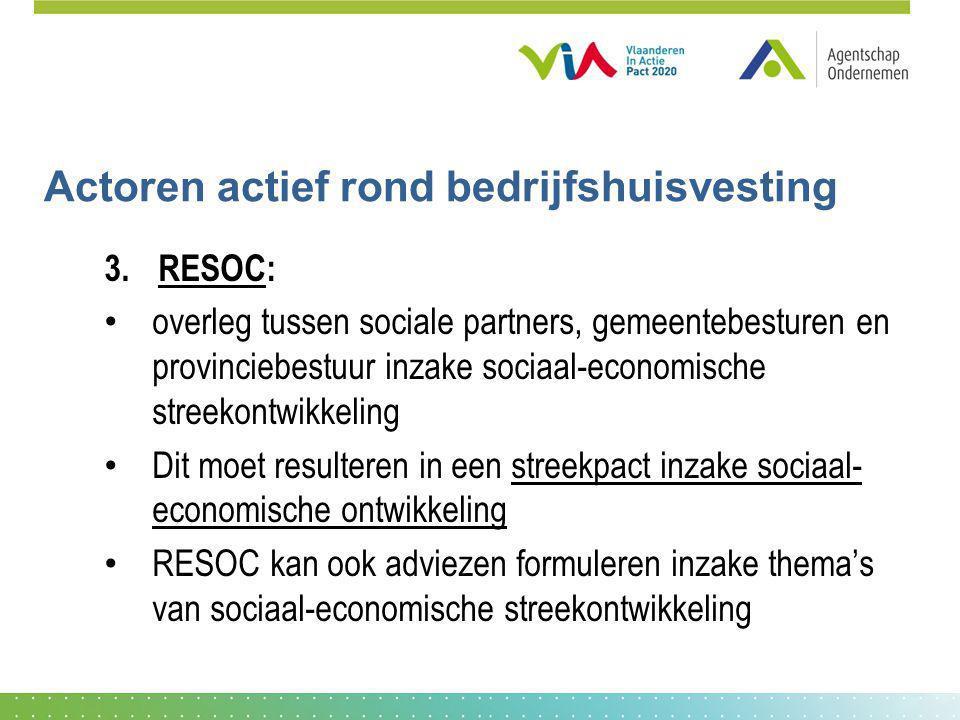 Actoren actief rond bedrijfshuisvesting 3.RESOC: overleg tussen sociale partners, gemeentebesturen en provinciebestuur inzake sociaal-economische stre
